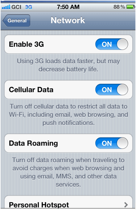 Cell Data Screen