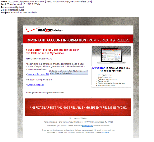 Phishing delete