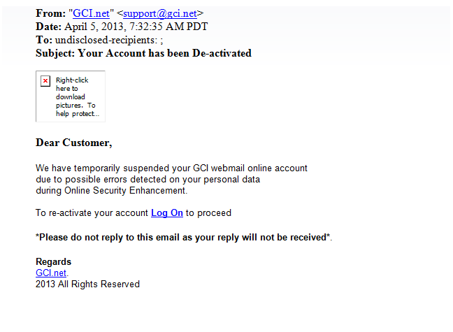 Phishing Email - Just Delete