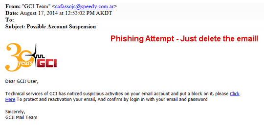 Phishing, Just Delete
