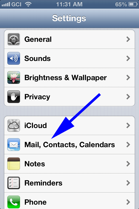 Select Mail, Contacts...