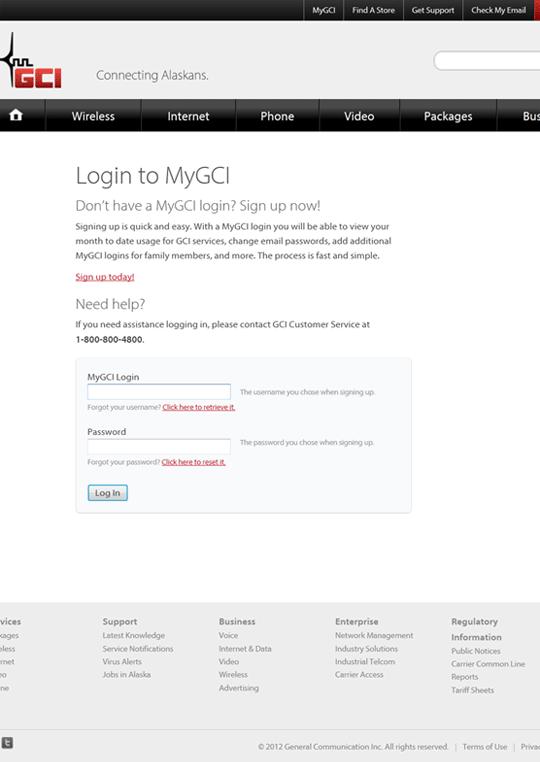 MyGCI Login Page