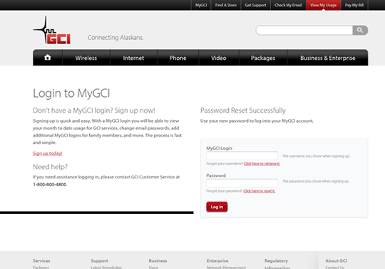 MyGCI Login Screen