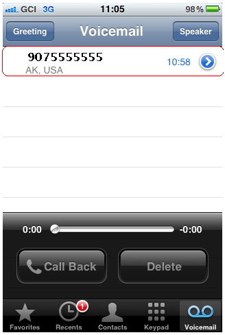 Voicemail Displayed