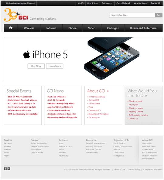 GCI's main web page