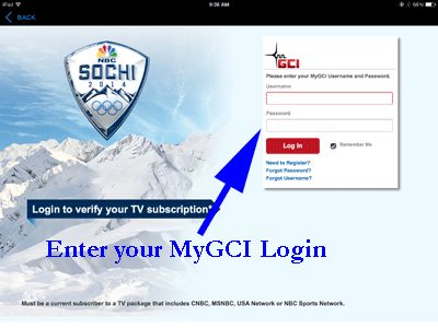 MyGCI log in screen