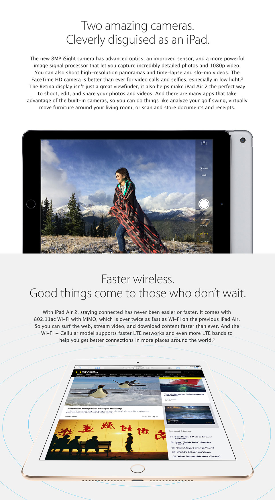 iPad Air 2. Two amazing cameras. Faster Wireless.