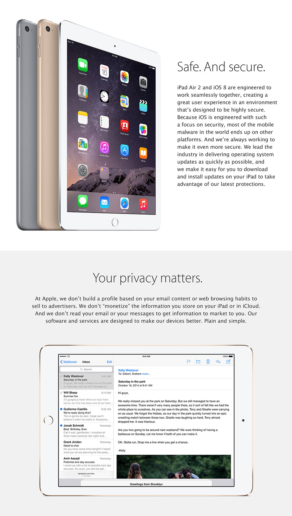 iPad Air 2. Safe and secure. Your privacy matters.